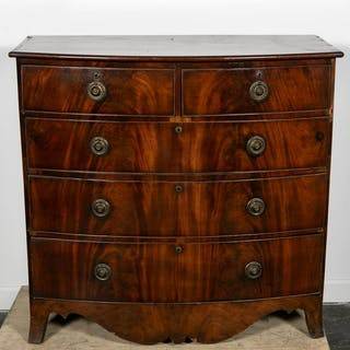 American Federal Style Five Drawer Bowfront Chest