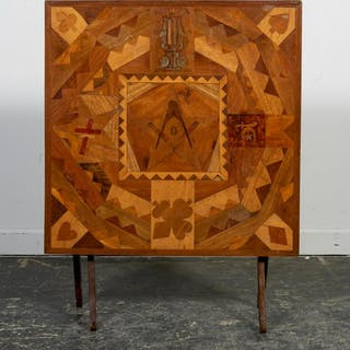 Masonic Folk Art Marquetry Inlaid Folding Table