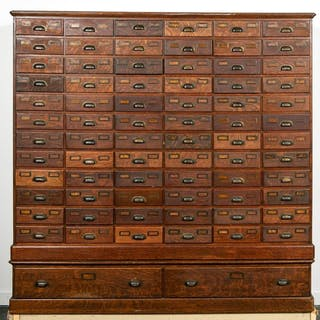 Large 20th C. Oak Multi-Drawer Card Catalog