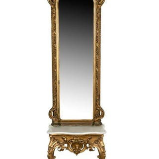 Rococo Revival Pier Mirror and Marble Top Table