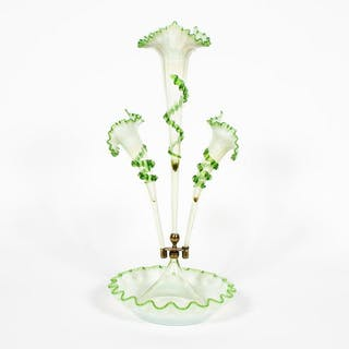 Early 20th C. Opalescent and Green Glass Epergne
