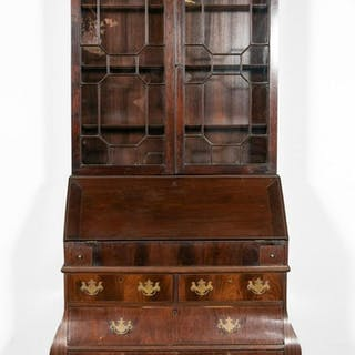 Bombe Form Mahogany Claw and Ball Foot Secretary