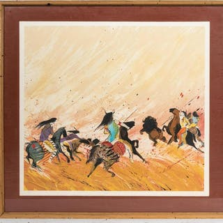"Earl Biss ""Buffalo Hunt"" Signed Lithograph 1/100"
