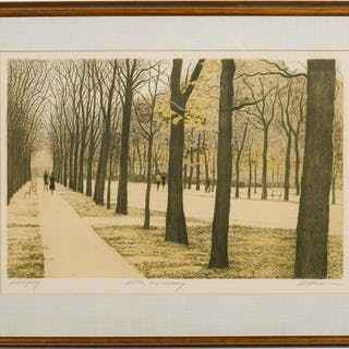 "Harold Altman, ""Allee Luxembourg"" Lithograph 1980"