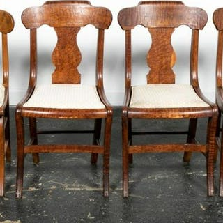 Four, New England Curly Maple Classical Chairs