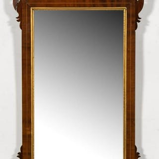 Small 18/19th C. Chippendale Inlaid Partial Mirror