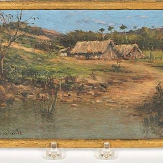 Oil, Village Landscape, Gonzalo Escalante Diaz