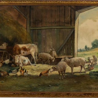 "RL Johnston ""Congregation in the Barn"" Watercolor"