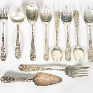Twelve Repousse Sterling Silver Flatware Pieces
