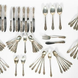 "97 PC Wallace ""Rose Point"" Sterling Flatware Set"