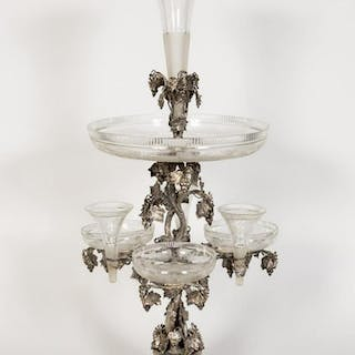Monumental 19th C Mappin & Webb Cut Glass Epergne