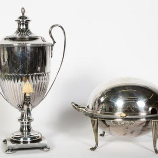 Two English Silverplate Warming Tableware Articles