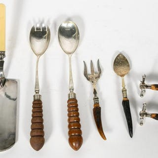 7 PC., Mostly Horn Handled Silverplate Serveware