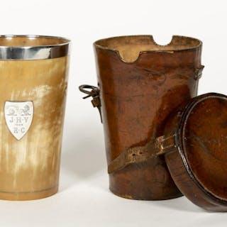 Victorian Silver Mounted Horn Beaker in Case