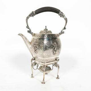 Wm. Hutton Silverplated Kettle on Stand, 1907
