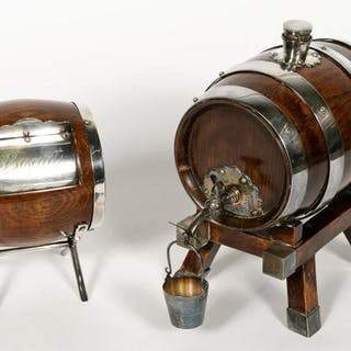 Two English Silverplate and Oak Barrel Dispensers