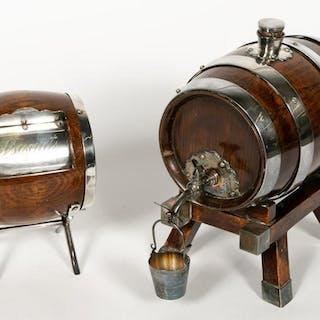 Two English Silverplate and Oak Barrel Dispensers