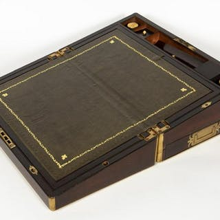 Scottish Brass Bound Rosewood Campaign Writing Box