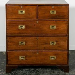 19th C. Five Drawer English Campaign Chest