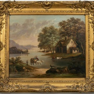 English School Oil on Canvas Genre Landscape Scene