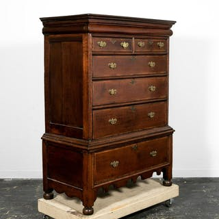 17th C. William and Mary Inlaid Oak Chest on Stand