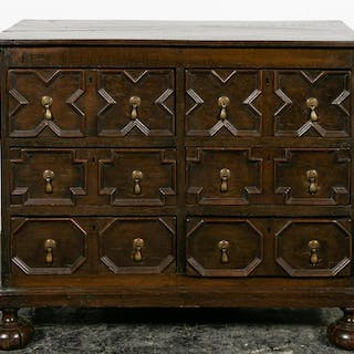 18th C. Oak William and Mary Three Drawer Chest