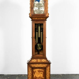 Allegorical Inlaid Mahogany Tall Case Clock, 1903