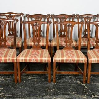 Set, Eight Chippendale Style Dining Chairs