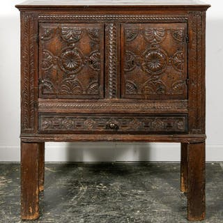 17th C. Two Door Carved Oak Livery Cupboard