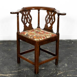 19th C. Georgian Style Oak Corner Chair