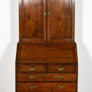 19th C. Georgian Oak Fall Front Desk and Bookcase