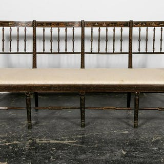 Long Black Japanned Chinoiserie Decorated Bench
