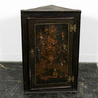 19th Georgian Japanned Chinoiserie Corner Cabinet