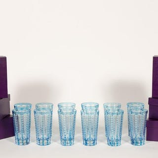 "Twelve William Yeoward ""Lulu"" Blue Glass Tumblers"