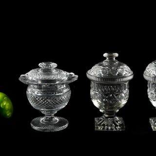Three Anglo-Irish Cut Glass Covered Sweetmeats
