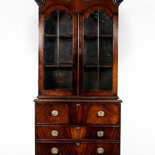 Georgian Style Mahogany Secretary Bookcase