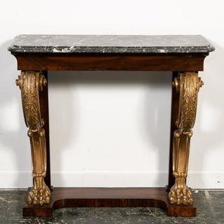 19th C. Regency Rosewood Partial Gilt Pier Table