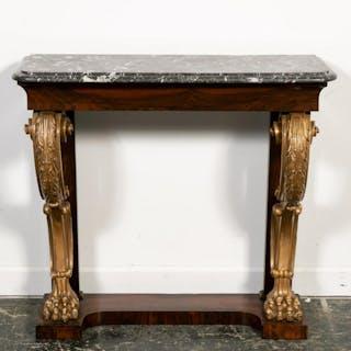 19th C. Regency Rosewood Partial Gilt Pier Table