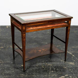 English Rosewood Marquetry Inlaid Vitrine Table