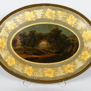 Large 19th Century Hand Painted Tole Tray
