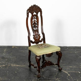 Carved Queen Anne Style Side Chair, 19th C.