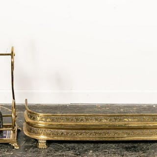 Four Piece, English Brass Fireplace Accessory Set