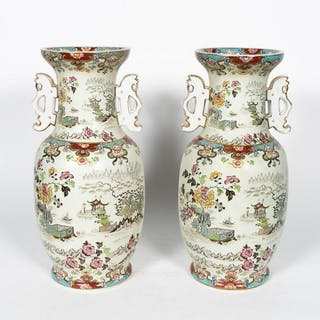 Pair, Large English Double Handled Chinese Urns
