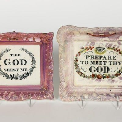 Two English Lusterware Motto Plaques
