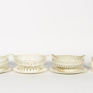 Group, 9 PC. 19th C. Creamware Baskets and Shakers