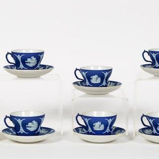12 PC Wedgwood Blue Jasper Dip, Cups & Saucer Sets