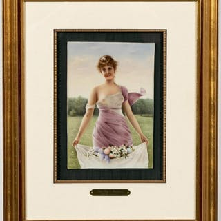 KPM Hand-Painted Plaque, Young Woman