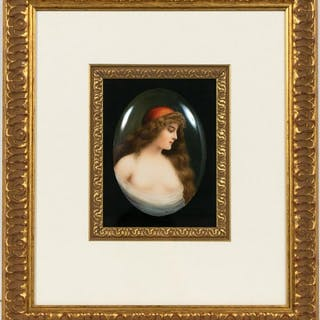 Framed KPM Enameled Plaque, Nude in Red Cap