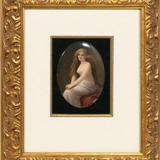 Framed Oval KPM Plaque, Half-Nude Female