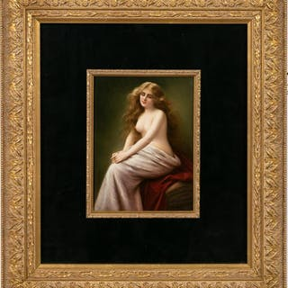 KPM Hand-Painted Plaque, Seated Nude, Miller